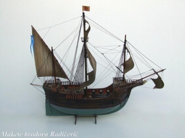 DUBROVAČKA NAVA  Dubrovačka republika je u srednjem vjeku imala niz dobrih brodogradilišta i izvrsne brodograditelje.  Najstariji podatak o navi postoji u Dubrovniku, umjetnički napravljena posuda od srebra koja prikazuje trup nave iz 15. veka.  Dubrovačke nave su po svojoj solidnoj gradnji i mogućnosti prenošenja velikih tereta bile nadaleko poznate u svetu.  Glavne karakteristike brodova 15. i 16. vjeka bile su veliki obli trup sa otsječenom krmom, tri jarbola i većim brojem jedara obično četiri.  Teško je odrediti nosivost dubrovačkih brodova u današnjim mjerama ali se spominje nosivost oko 1500 bačava