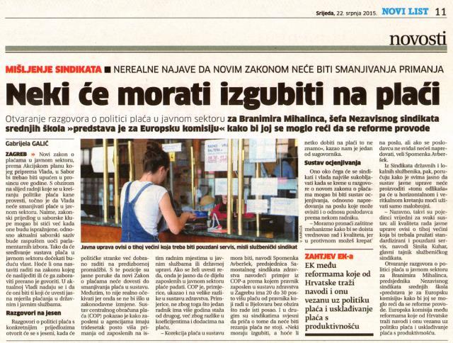 Zakon o plaćama za javne službe u pripremi za jesen_22.07.2015.