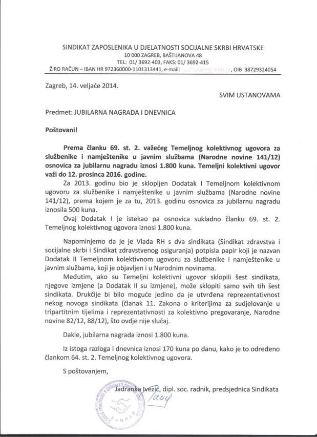 Socijalna skrb- ISPLATA JUBILARNE NAGRADE U 2014. godini