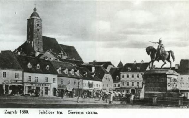 1880. Zagreb, Trg bana J. Jelačića - spomenik okrenut prema Mađarskoj, obratite pozornost na Katedralu prije požara