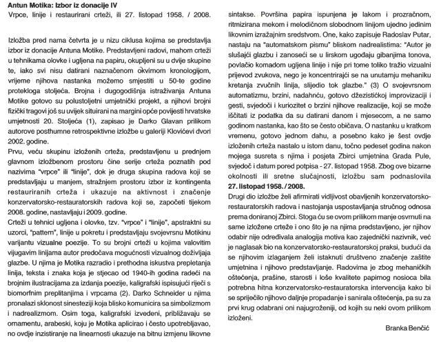 B. Benčić, predgovor izložbi