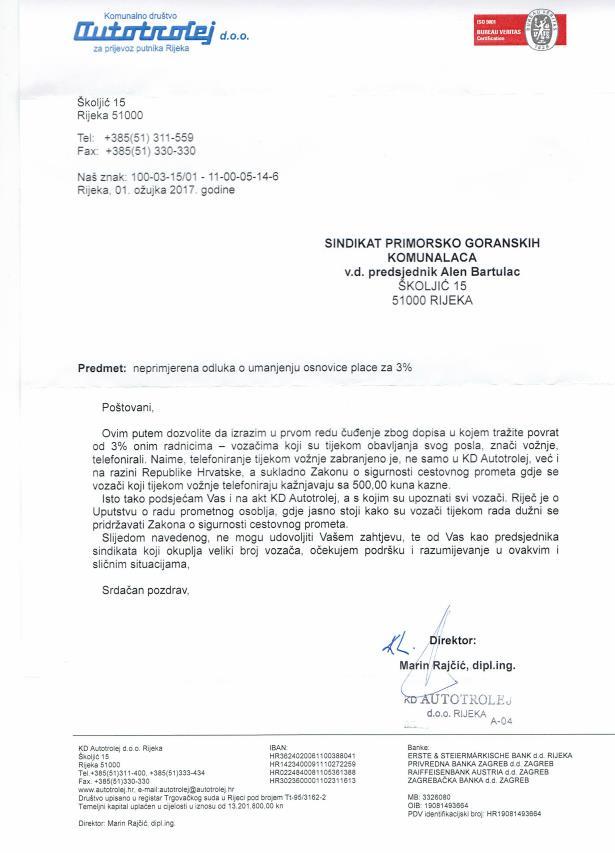 odgovor direktora na dopis