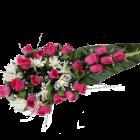 Aranžman se sastoji od 20 rozih ruža bijelog cvijeća i pripadajučeg zelenja, sve u varijanti svilenoga cvijeća